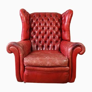 English Leather Wing Back Chesterfield Armchair, 1960s