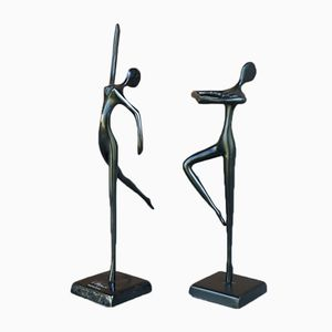 Dancing Figurines by Bodrul Khalique, 1980s, Set of 2