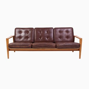 Mid-Century Oak and Leather Kastrup Sofa by Erik Wørts, 1950s