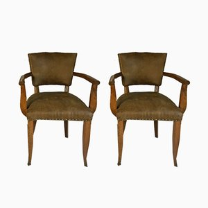 Leather Bridge Chairs, 1950s, Set of 2