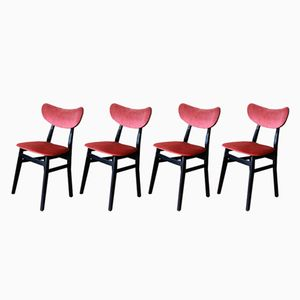 Mid-Century Velvet Dining Chairs, Set of 4