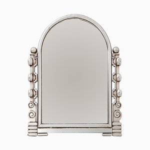 Espejo Art Déco francés vintage plateado