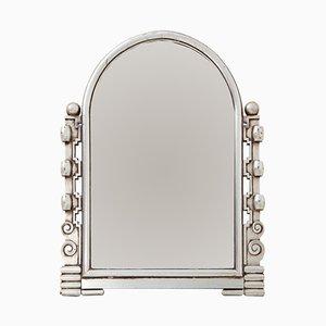 Französischer silberner Vintage Art Deco Spiegel