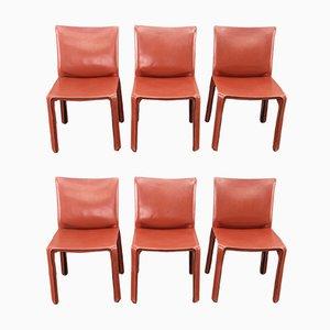 Ochsenblutrote Cab Chairs aus Leder von Mario Bellini für Cassina, 6er Set