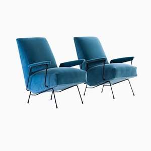 Italian Blue Velvet and Iron Armchairs, 1950s, Set of 2