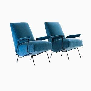 Italienische blaue Samt und Eisen Sessel, 1950er, 2er Set