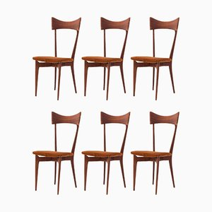 Italian Leather and Mahogany Dining Chairs by Ico Parisi, 1950s, Set of 6