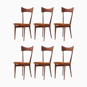 Italienische Leder und Mahagoni Esszimmerstühle von Ico Parisi, 1950er, 6er Set