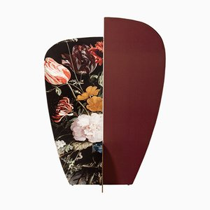 Paravent Kazimir Type B Bordeaux et Noir à Motif Floral par Julia Dodza pour Colé