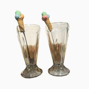 Vasos para helado, años 70. Juego de 2