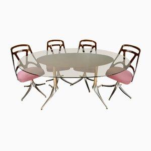 Mesa de comedor italiana vintage con 4 sillas, años 60