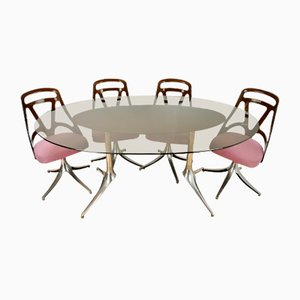 Vintage Italian Dining Table & 4 Chairs, 1960s