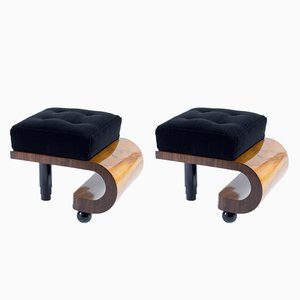 Art Deco Italian Black Velvet Stools, 1930s, Set of 2