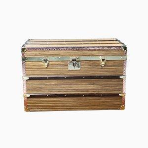 Baúl de viaje de madera de zebrano, cobre y latón macizo, años 80