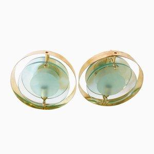 Wandlampen aus Glas von Fontana Arte, 1960er, 2er Set