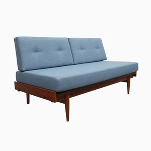 Teak Daybed with Light Blue Upholstery, 1960s
