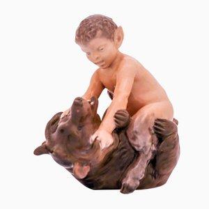 Sculpture Antique Faune & Ours par Christian Thomsen pour Royal Copenhagen