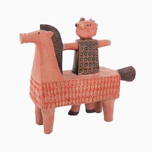Vintage Skulptur eines Pferdes mit Reiter von Stig Lindberg für Gustavsberg