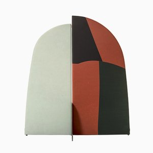 Paravent Abstrait Kazimir Type B Vert, Rouge, Blanc et Noir par Julia Dodza pour Colé
