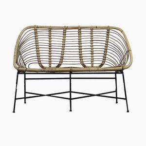 Vintage Rattan Lounge Bench