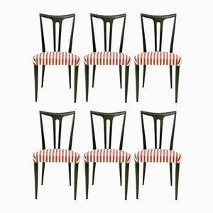 Ebonisierte Holz Esszimmerstühle, 1950er, 6er Set