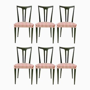 Ebonized Wood Dining Chairs, 1950s, Set of 6