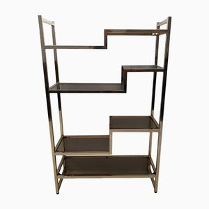 Mid-Century Modern Italian Brass Shelving Unit with Smoked Glass Shelves, 1970s