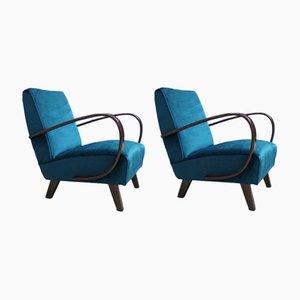 Stühle aus Bugholz und grünem Samt von Jindrich Halabala für Thonet, 1930, 2er Set