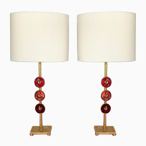 French Bronze Enamel Lamps by Nicolas Dewael for Fondica, 2000, Set of 2