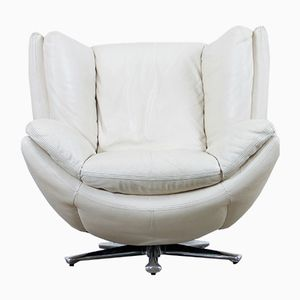 Vintage Space Age Lounge Chair in Cream Leather