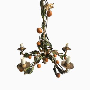 Vintage Italian Orange Tole Chandelier