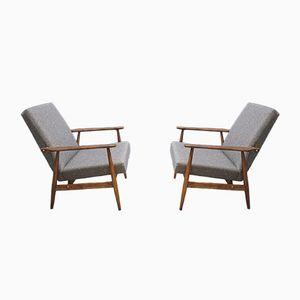 Hellgraue Vintage Sessel von H. Lis, 1970er, 2er Set