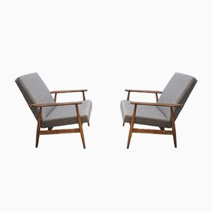 Vintage Light Grey Lounge Chair by H. Lis, 1970s, Set of 2