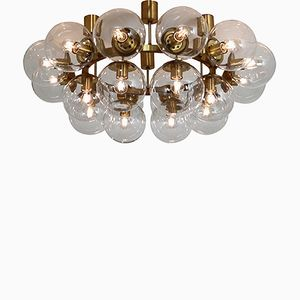 Large Vintage Chandelier with 20 Hand-Blown Glass Globes