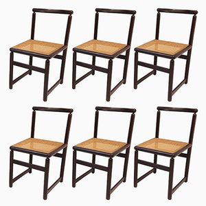 Vintage Cane & Mahogany Chairs, 1970s, Set of 6