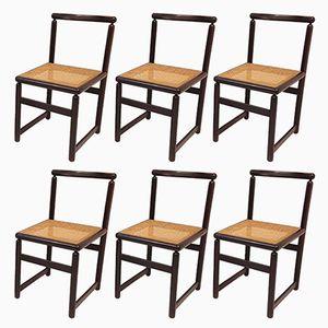 Vintage Stühle mit Geflecht aus Mahagoni, 1970er, 6er Set