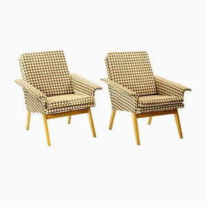 Brown Plaid Armchairs from Jitona, 1960s, Set of 2