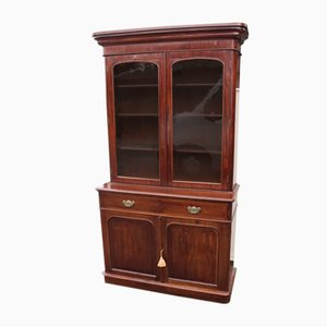 Antique 2-Door Mahogany Chiffoniere Bookcase with a Glazed Display Top
