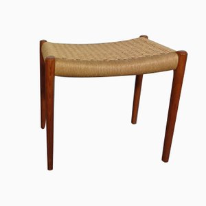 Teak and Papercord Ottoman by Niels O. Møller for J.L. Møllers, 1950s