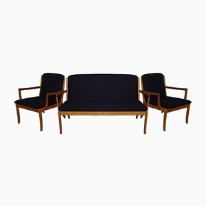Sofá de teca con dos poltronas de Ole Wanscher para Cado, años 60