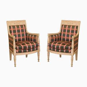 Bemalte Bergeres Sessel aus dem Französisches Direktorium, 1800er, 2er Set