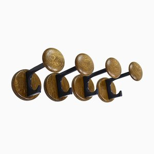Mid-Century Wooden Coat Hooks, 1960s, Set of 4