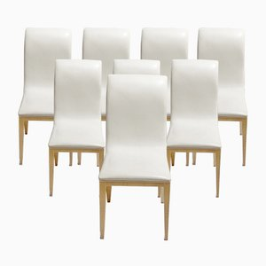 Italian Dining Chairs in Maple & Cream Leather, 1970s, Set of 8