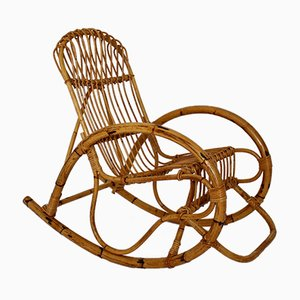 Rocking Chair en Rotin, Italie, 1960s