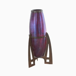 Jugendstil Vase mit Metallmontierung, 1910er