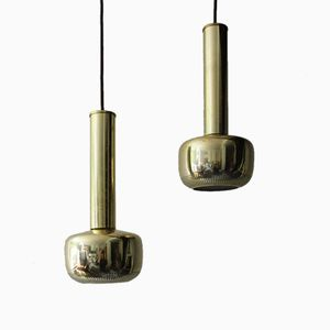 Vintage Guldpendel Brass Pendants by Vilhelm Lauritzen for Louis Poulsen, Set of 2