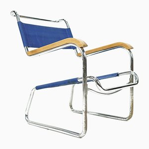 Bauhaus Cantilever Chair in Blue by Karel Ort for Hynek Gottwald, 1930s