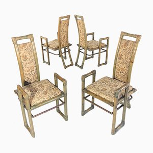 Bamboo and Brass Armchairs, 1950s, Set of 4