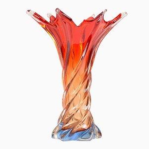 Gedrehte rote Vintage Muranoglas-Vase