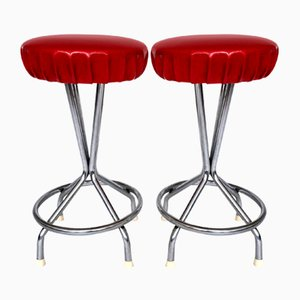 Vintage Chrome and Red Vinyl Stools, Set of 2